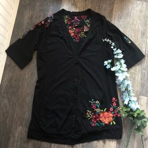 Johnny Was | Black Button Front Embroidered Tunic